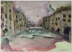 Naviglio in rosa - Acquerello - cm.35.5x51 - carta 300gr.