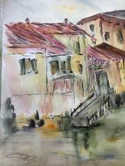 Finestre sul naviglio - Acquerello - cm.35.5x51 - carta 300gr.