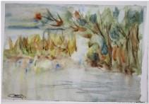 Lo stagno in giallo - Acquerello - cm.30x42 - carta 300gr.