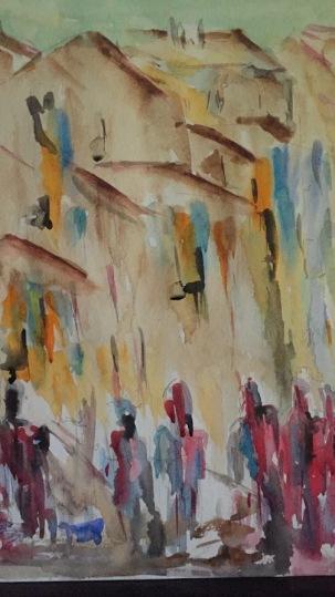 Exodus from the city - Acquerello - cm.30x40 - carta 300 gr. - autore Maria Cutugno