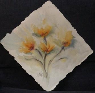 Sfioriti in giallo - Acquerello - cm.40x40 - carta 300 gr.