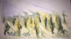 alberi in verde - Acquerello - carta 300 gr. cm.35,5x51