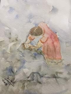 la balia - acquerello - cm 30x40 - carta 300 gr. acquerello