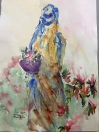 la dama - acquerello - carta 300 gr. - cm 30x40