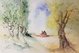 Sull'erba - Acquerello - cm.35.5x51 - carta 300gr.